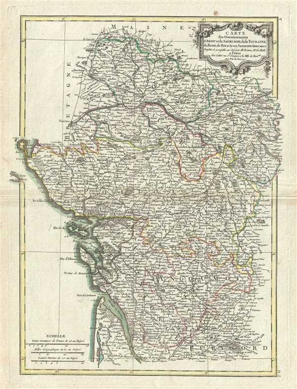 Carte des Gouvernements D'Anjou et du Saumurois, de la Touraine,du Poitou, du Pays d'aunis, Saintonge-Angoumois.