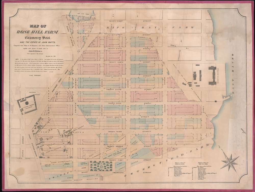 Map of Rose Hill Farm, Gramercy Seat, and the estate of John Watts. - Main View