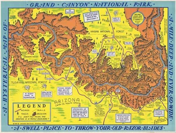grand canyon np map A Hysterical Map Of Grand Canyon National Park A Mile Deep And grand canyon np map
