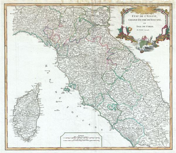 Etat de l'Eglise, Grand Duche de Toscane, et Isle de Corse. - Main View