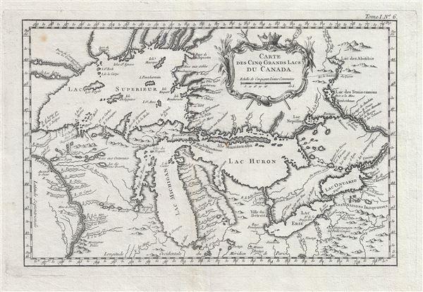 Carte des Cinq Grands Lacs du Canada.
