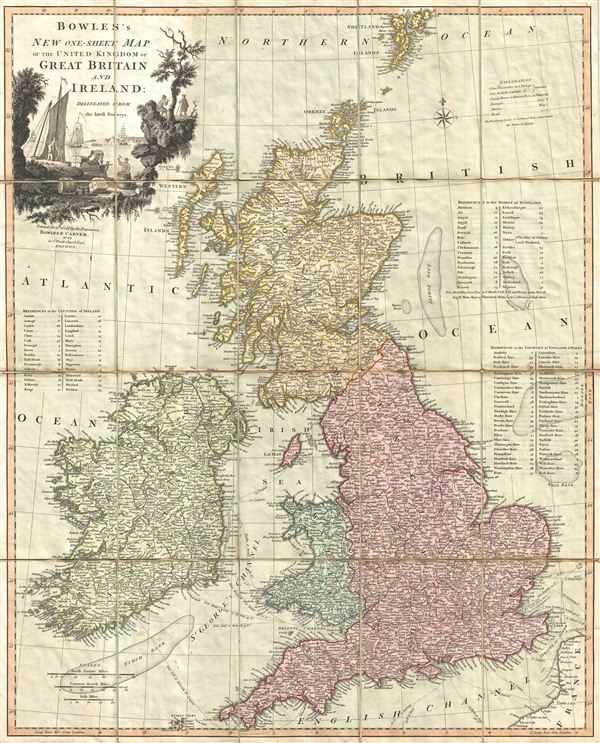 Bowles's New One-Sheet Map of the United Kingdom of Great Britain and Ireland; Delineated from the latest Surveys. - Main View