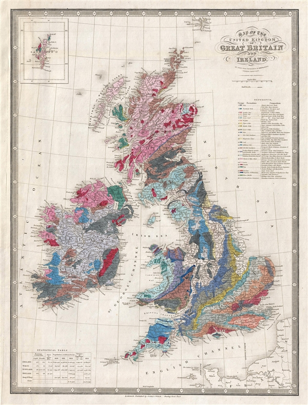 Map of the United Kingdom of Great Britian and Ireland.