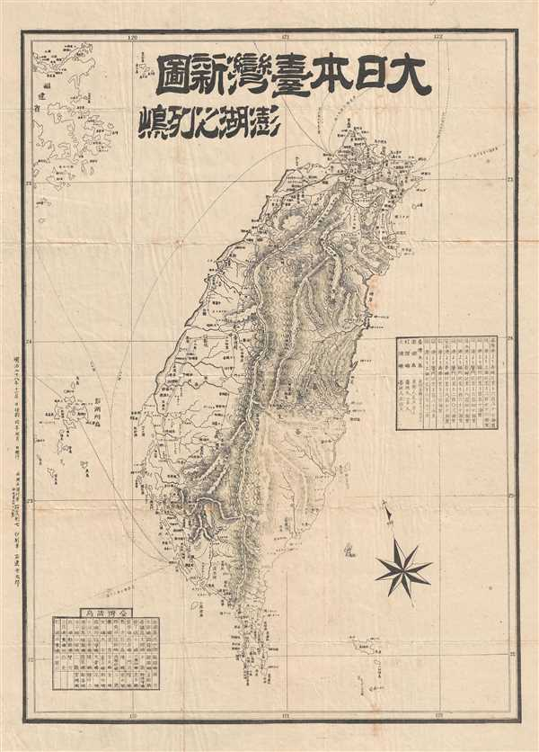 New Map of Great Japan and Taiwan, Penghu Archipelago / 大日本台灣新圖, 澎湖[]列嵨 / Dà Rì Běn Tái Wān Xīn Tú, Pēnghú Liè Dǎo