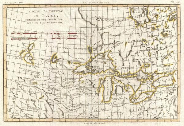 Partie Occidentale du Canada, contenant les cinq Grands Lac, avec les Pays Circonviosins.