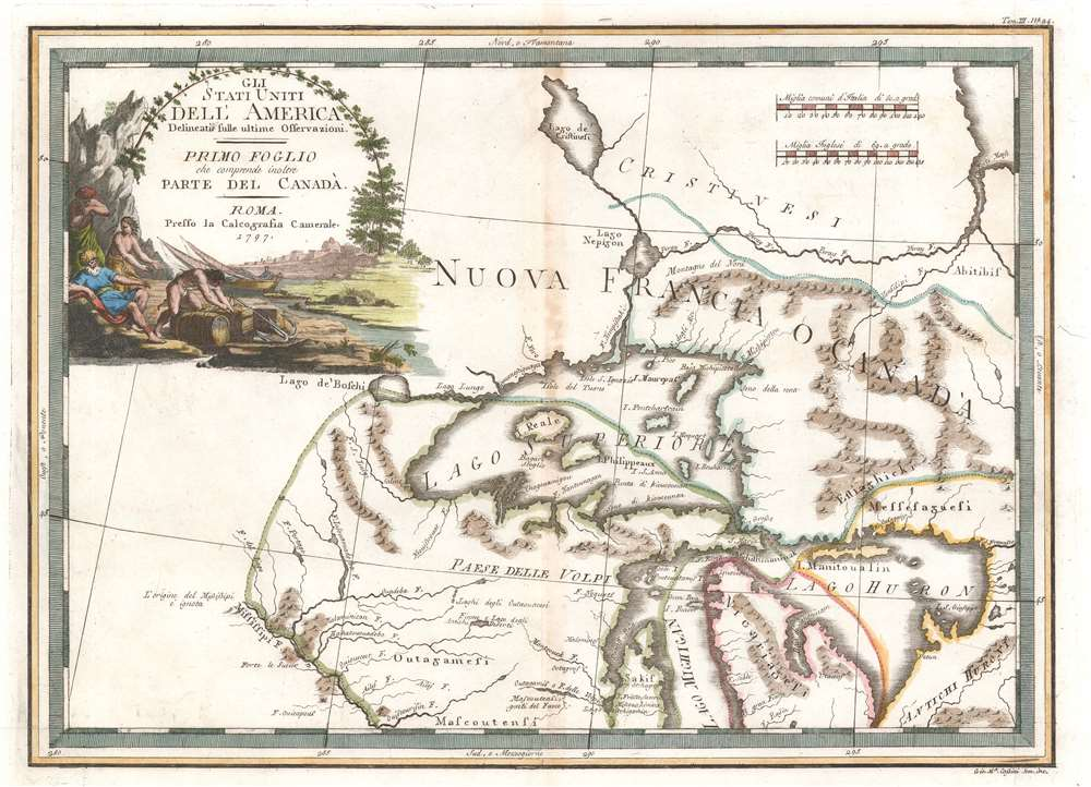 Gli Stati Uniti dell' America delineati sulle ultime Osservazioni. Primo Foglio che comprende inoltre Parte del Canada. - Main View