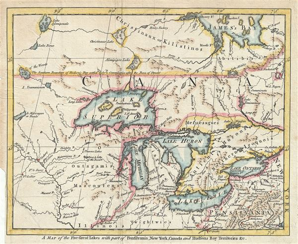 a map of the five great lakes with part of pensilvania new york