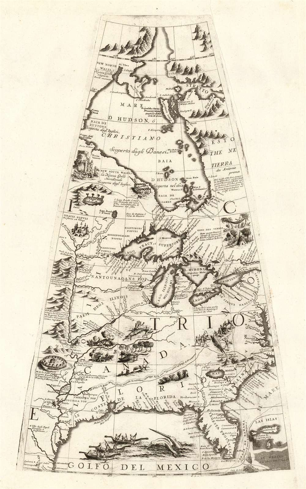 1688 / 1697 Coronelli Globe Gore of The Great Lakes, Mississippi R., Hudson's Bay, Florida