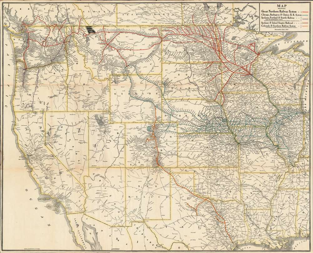 Map Showing [the] Great Northern Railway System; Chicago, Burlington and Quincy R. R. System; Spokane, Portland and Seattle Railway; Spokane and Inland Empire Railroad; Colorado and Southern Railway System. - Main View