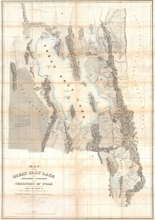 Map of the Great Salt Lake and Adjacent Country in the Territory of Utah.
