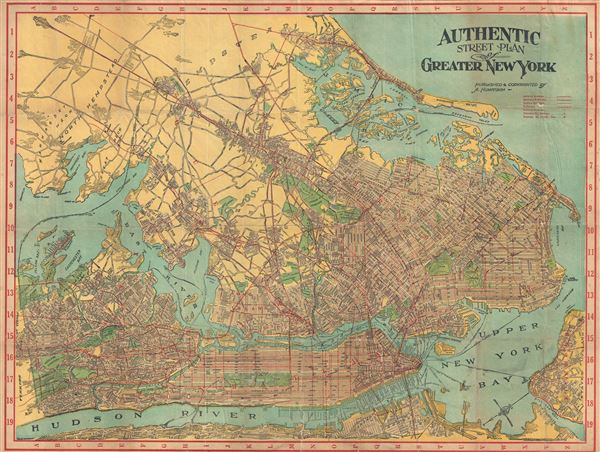 Authentic Street Plan of Greater New York Geographicus Rare