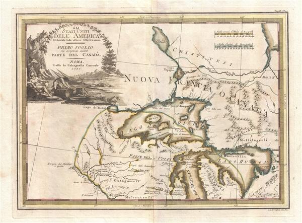 Gli Stati Uniti dell' America delineati sulle ultime Osservazioni. Primo Foglio che comprende inoltre Parte del Canada.