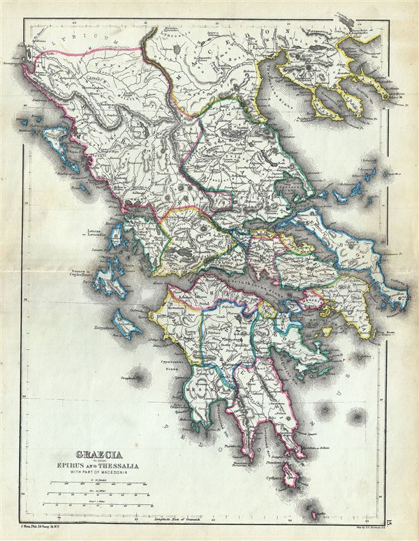 Ancient Greece Map Macedonia.Graecia Including Epirus And Thessalia With Part Of Macedonia