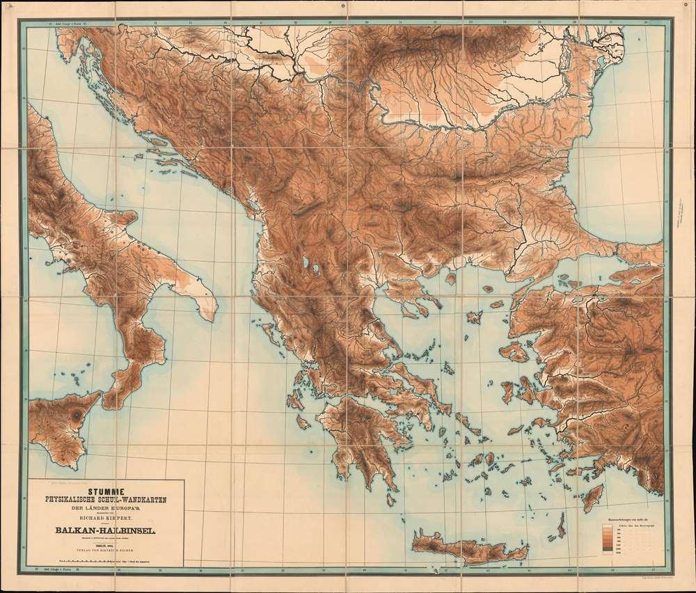 Stumme Physikalische Schul-Wandkarten der Länder Europas. Balkan-Halbinsel. - Main View