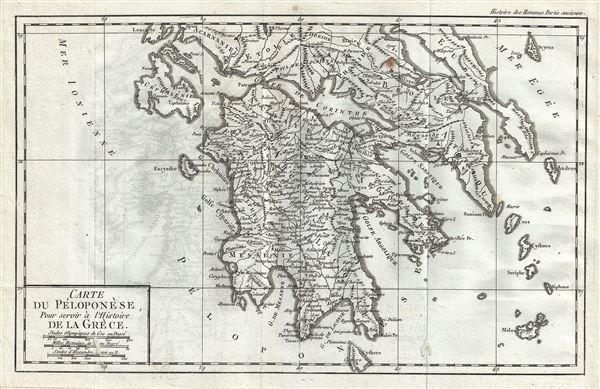 Carte du Peloponese, pour servir a l'Histoire de la Grece.
