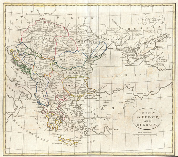 1799 Clement Cruttwell Map of Turkey in Europe