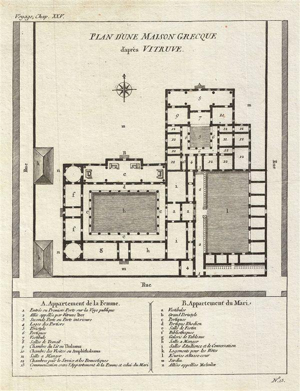 Plan D 39 Une Maison Grecque D 39 Apres Vitruve Geographicus