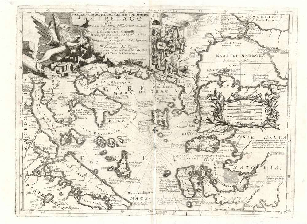 1697 Coronelli Map of the Northern Aegean Sea and the Bosporus