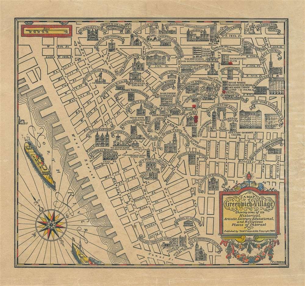 1934 Harper Pictorial Map of Greenwich Village, New York City