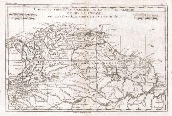 Carte Du Nord Rme. De Grenade De La Nou Le. Andalouise Et De La Guyane.