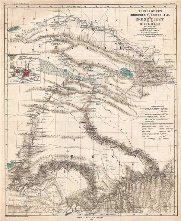 Reiserouten des Indischen Punditen A - K - in Gross Tibet und der Mongolei 1879-1882.