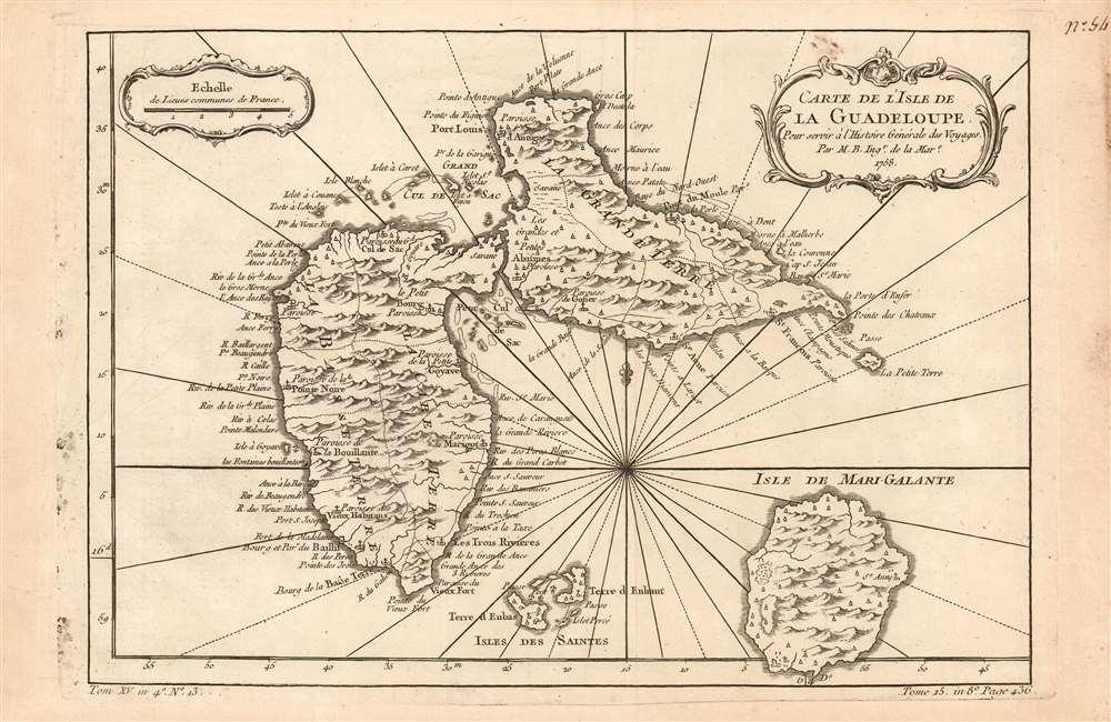 Carte de l'Isle de La Guadeloupe Pour servir à l'Histoire Générale des Voyages Par M. B. Ing.r de la Mar.e 1758. - Main View