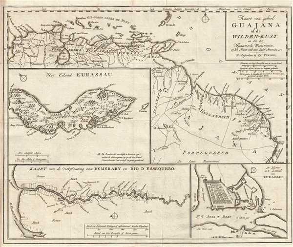 Kaart van geheel Guajana of de Wilden-Kust, en die der Spaansche Westindien op het Noord-end van Zuid-Amerika.