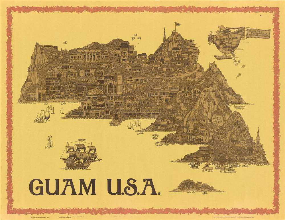 1971 Bush Psychedelic Pictorial Map of Guam