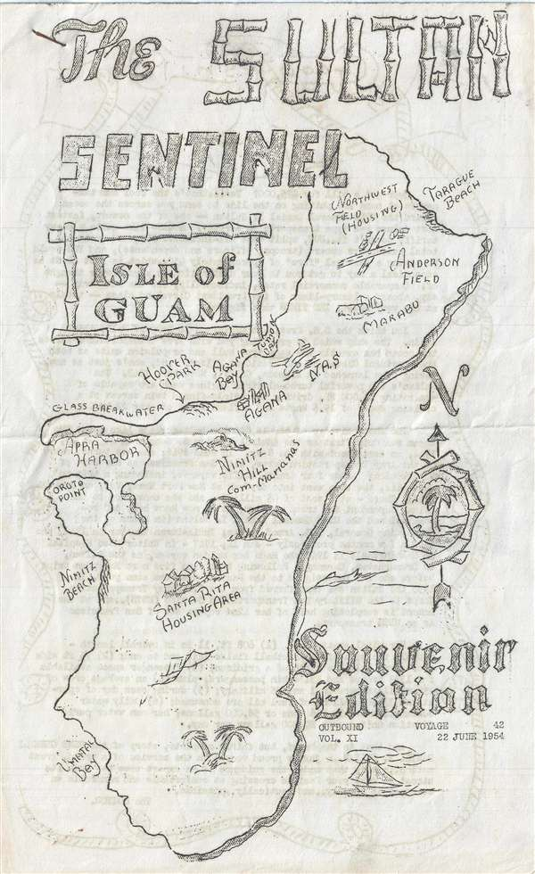 The Sultan Sentinel Isle Of Guam Souvenir Edition Geographicus - Us-navy-map