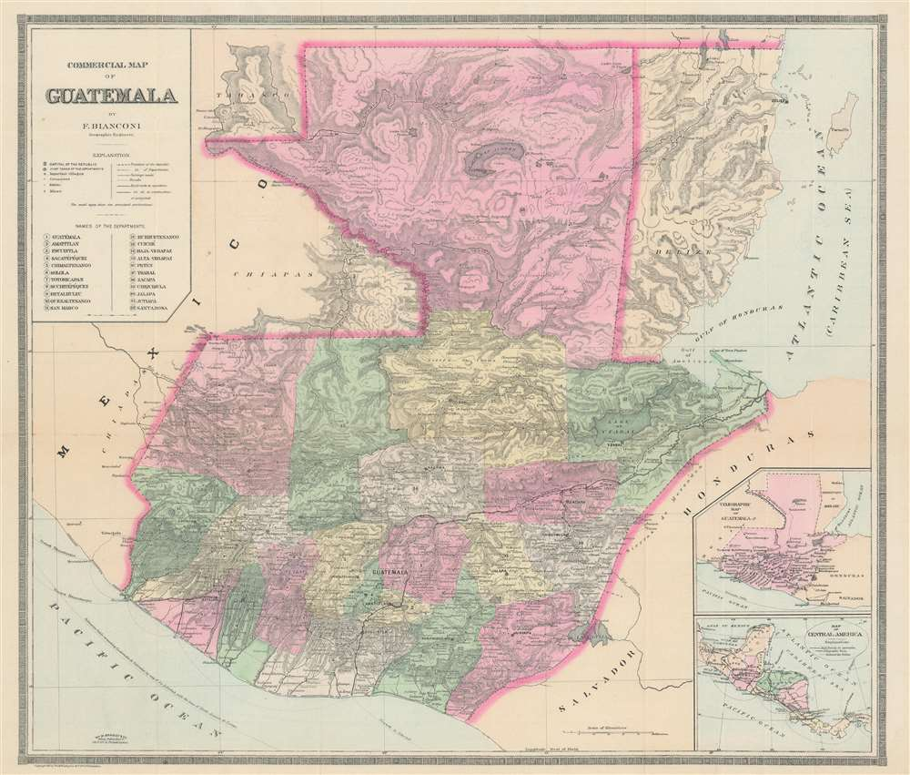 Commercial Map of Guatemala. - Main View