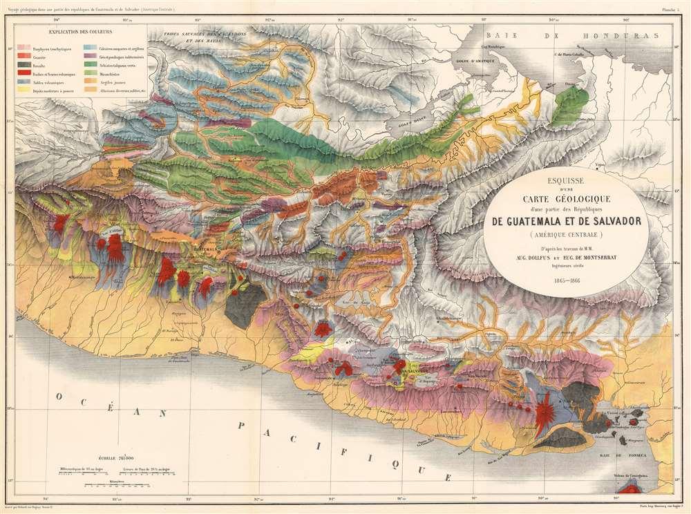 Esquisse d'une Carte Géologique d'une partie des Républiques de Guatemala et de Salvador (Amérique Centrale). - Main View