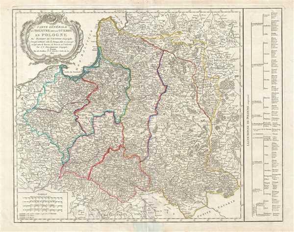 Carte générale du théatre de la guerre en Pologne… Corrigée et Divisée selon les Partages faits en 1772, 1793 et 1795 entre la Russie, la Prusse et l'Autriche.
