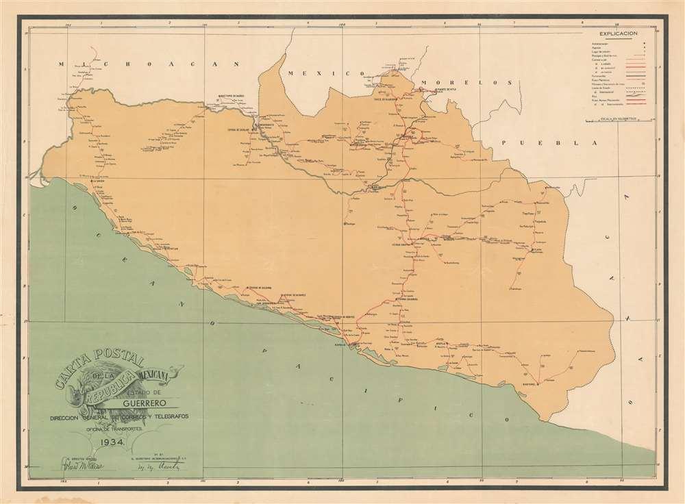 Carta Postal de la Republica Mexicana Estado de Guerrero.