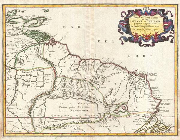 Partie de Terre Ferme ou sont Guiane et Caribane, augmentée et corrigée suivant les dernières relations. - Main View