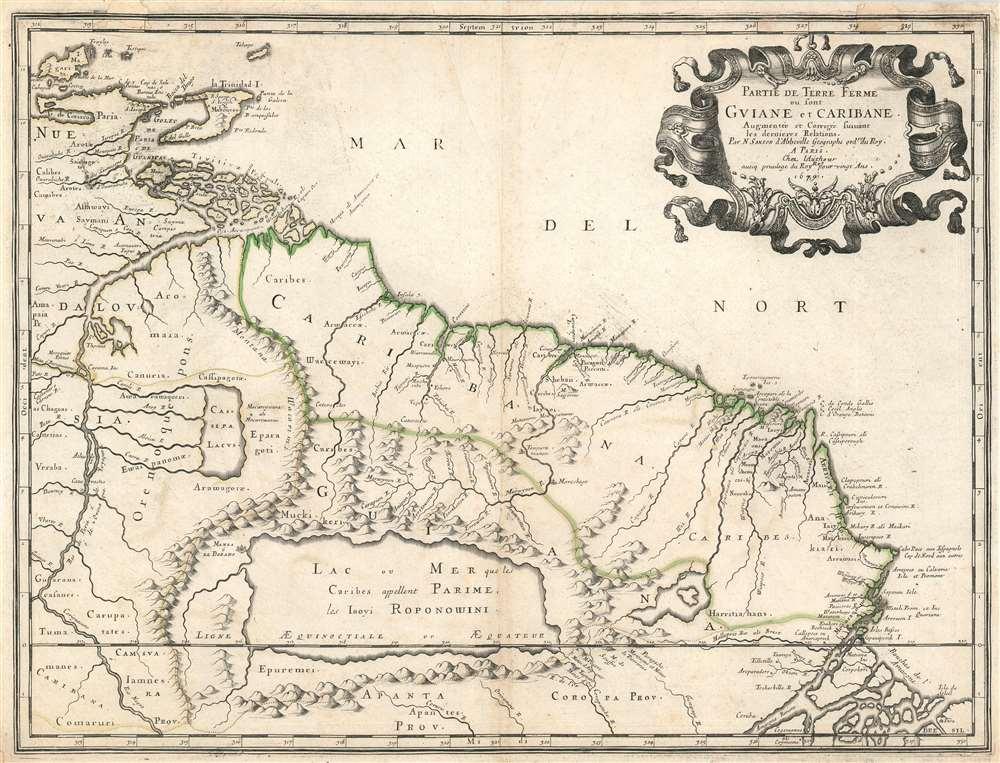 1679 Sanson Map of Guiana and northern Brazil