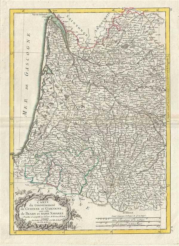Carte du Gouvernement de Guinne et Gascogne, avec celui de Bearn et Basse Navarre.