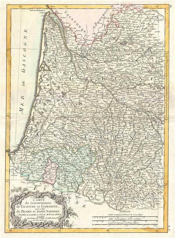 Carte du Gouvernement de Guienne et Gascogne, avec celui de Bearn et Basse Navarre. - Main View