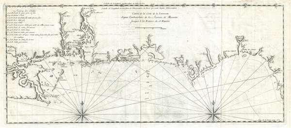 Carte de la Coste de la Louisiane depuis l'embouchure de la Riviere de Micissipi jusques à la Riviere de S. Martin.