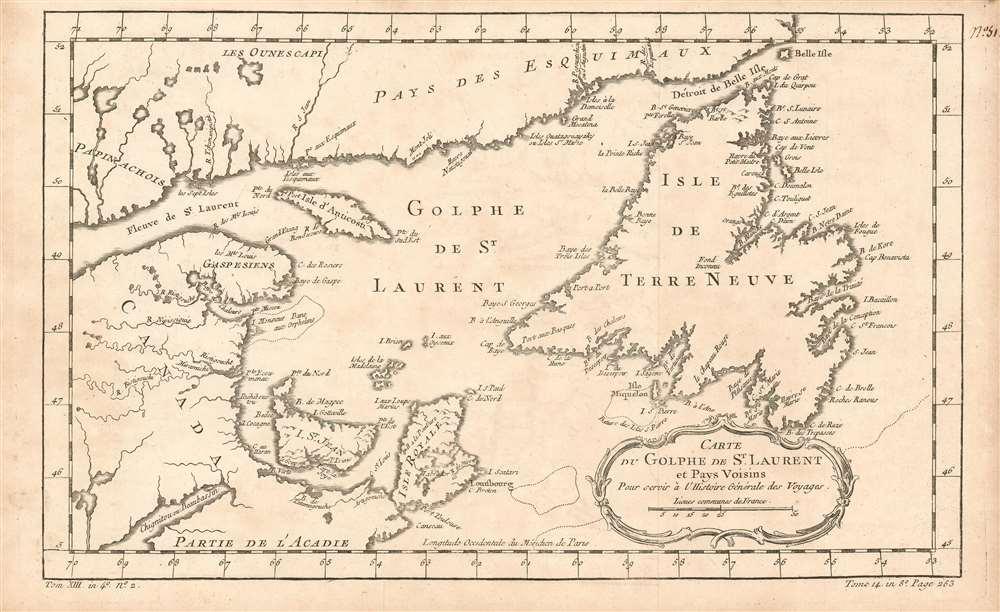 Carte Du Golphe De St. Laurent et Pays Voisins : Pour servir a l'Histoire Generale des Voyage - Main View