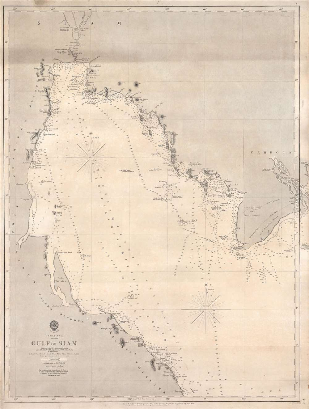1858 Admiralty Nautical Chart or Maritime Map of the Gulf of Siam