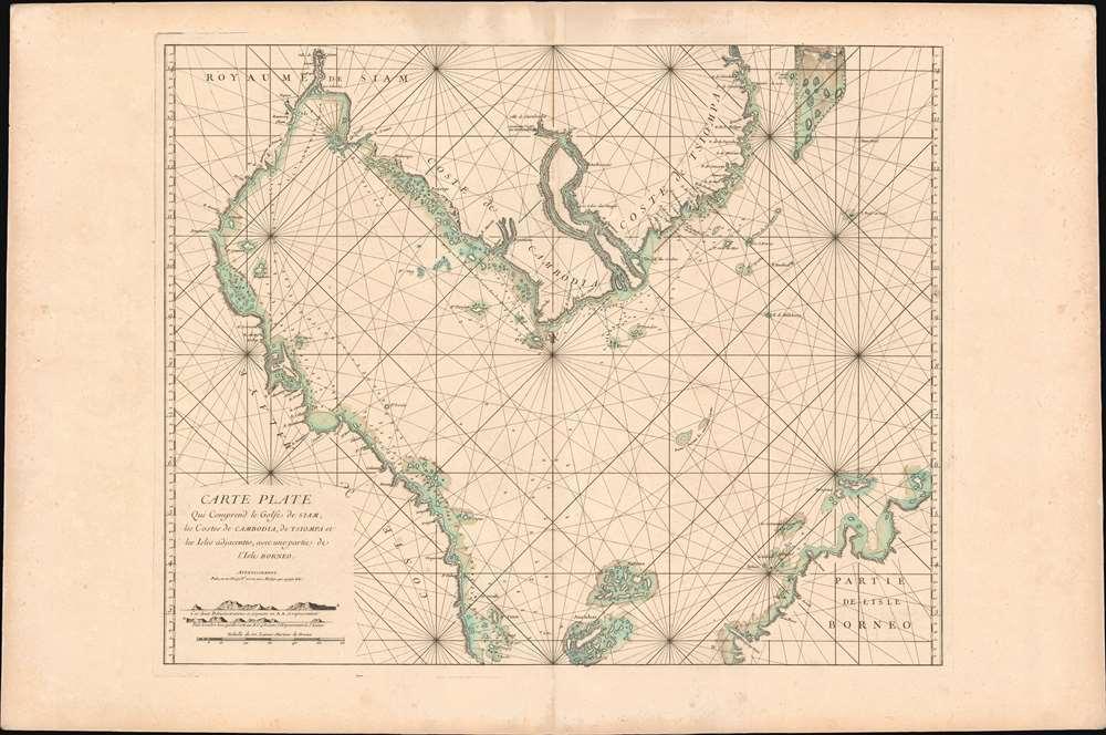 Carte plate qui comprend le Golfe de Siam, les costes de Cambodia, de Tsiompa et les Isles adjacentes, avec une partie de l'Isle Bornéo. - Main View