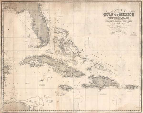 Chart of the Gulf of Mexico and Windward Passages Including the Islands of Cuba, Haïti, Jamaica, Puerto Rico, and the Bahamas. - Main View