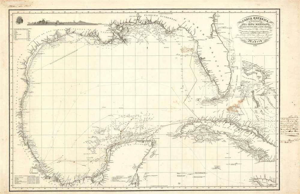 Carta Esferica de la costas del seno Mexicano Con parte de la isla de Cuba y canales adjacentes. - Main View