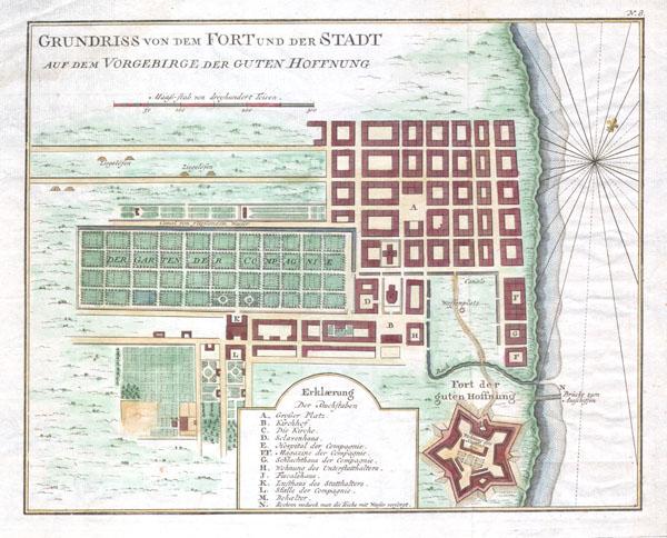 GRUNDRISS VON DEM FORT UND DER STADT AUF DEM VORGEBIRGE DER GUTEN HOFFNUNG.(Plan of the fort and the town on the promontory of Good Hope) - Main View