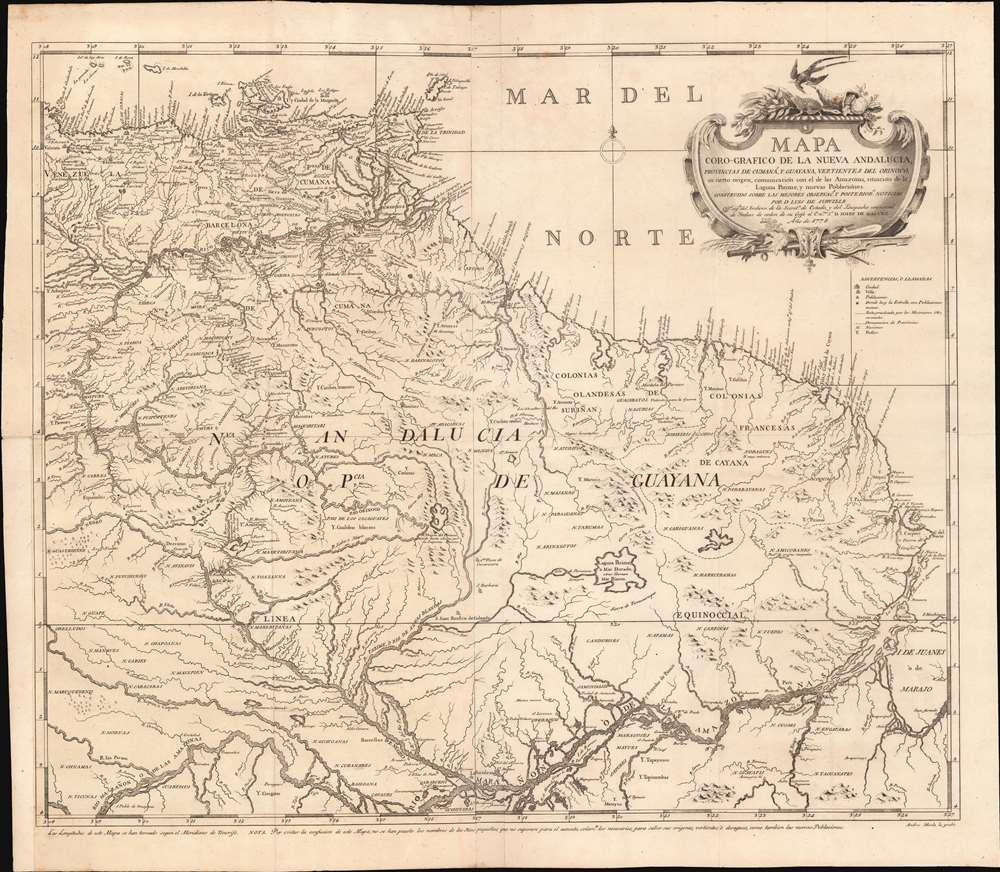 Mapa Coro-Grafico de La Nueva Andalucia, Provincias de Cumaná, y Guyana, Vertientes de Orinoco, su cierto origen, Ccomunicación con el de las Amazonas, situación de la Laguna Parime, y nuevas Poblaciónes. - Main View