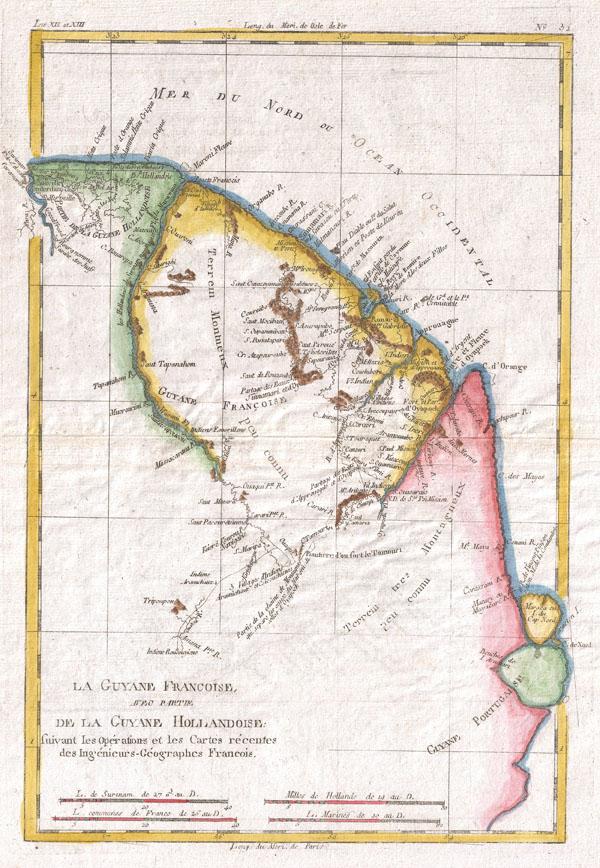 La Guyane Francoise Avec Partie De La Guyane Hollandoise