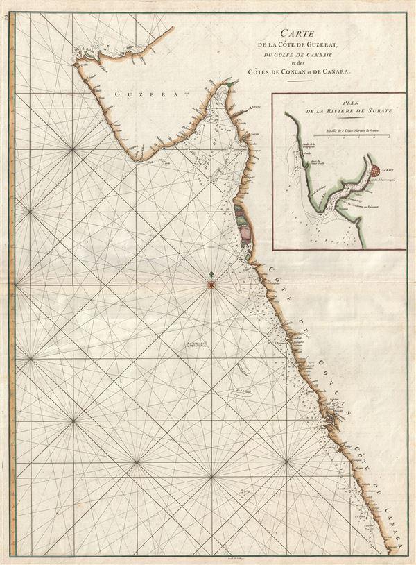 Carte de la Cote de Guzerat, du Golfe de Cambaye et des Cots de Concan et de Canara.