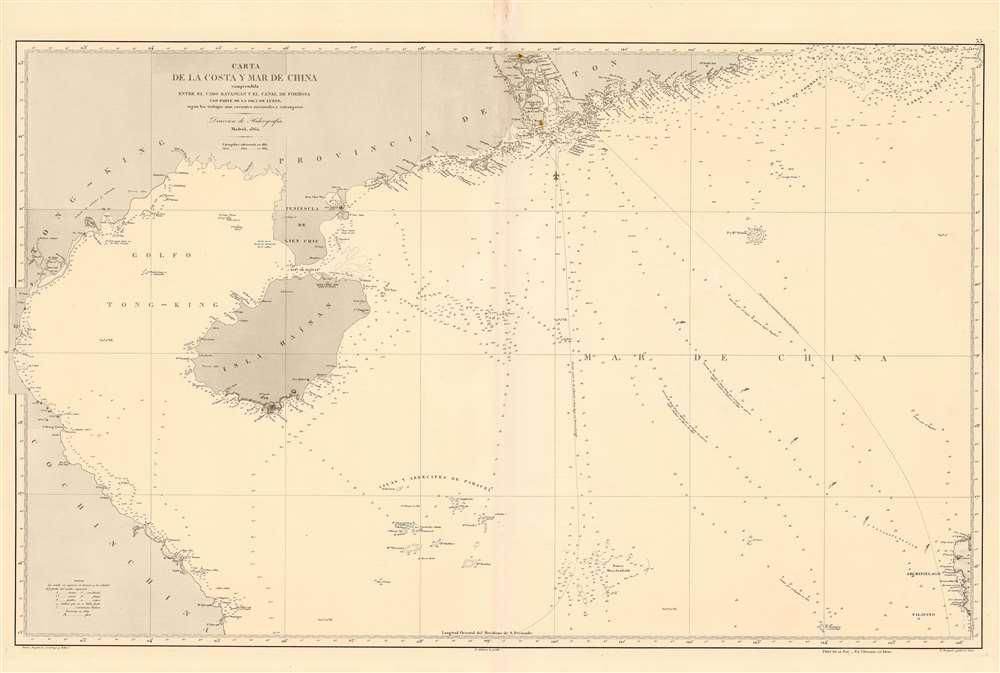 Carta de la Costa y Mar de China comprendida entre el Cabo Batangan y el Canal de Formosa con parte de la Isla de Luzon, segun los trabajos mas recientes macionales y estrangeros. - Main View