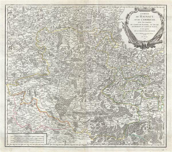 Comtes de Hainaut, et de Cambresis, avec les confins du Comte de Flandre, du Duche du Brabant, du Comte de Namur, et une partie de la Seigneurie de Liege. - Main View