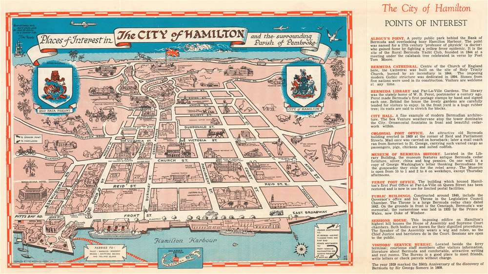 1959 Bermuda Press Pictorial Map of Hamilton, Bermuda